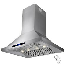 36  Stainless Steel Wall Mount Range Hood Touch Screen Display Baffle