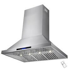 48  Stainless Steel Wall Mount Range Hood Touch Screen Display Baffle w Remote