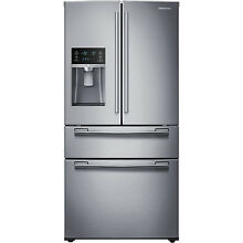 SAMSUNG Stainless Steel French Door 33  Wide Refrigerator Four Door RF25HMEDBSR