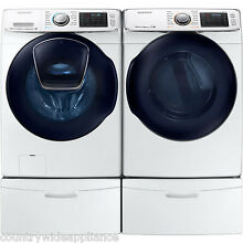 Samsung White Front Load Washer Electric Dryer Pedestals WF50K7500AW DV50K7500EW