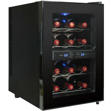 12 Bottle Freestanding Dual Zone Thermoelectric Reversible Doors Wine Cooler