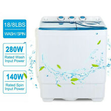 26 LBS Washing Machine Compact Twin Tub w  Drain Pump Laundry Home Spinner Dryer