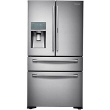 SAMSUNG 22 Stainless Steel French 4 Door Counter Depth Refrigerator RF22KREDBSR