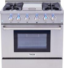 36  THOR KITCHEN GAS Stainless HRG3617U Convection Oven Range 4 Burner  Griddle