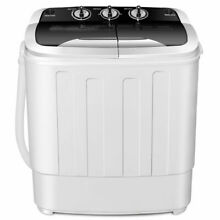 Compact Mini Twin Tub 13lbs Washing Machine Washer Spin Spinner Black