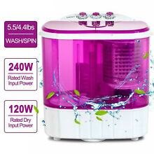 Portable 10 LBS Mini Washing Machine Compact Twin Tub Washer Spinning