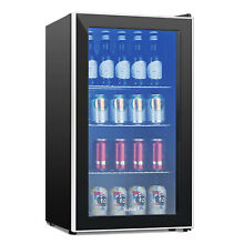 120 Can Mini Beer Soda Wine Bar Beverage Cooler Glass Door Refrigerator Fridge