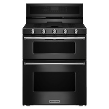 KitchenAid KFGD500EBL 30  Black Freestanding Double Oven Gas Range  16627