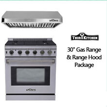 Thor Kitchen 2 Pieces Package  30  Gas Range range hood in stainless steel