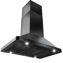 36  Island Mount BLACK Stainless Steel Range Hood Remote Dual Touch Stove Vent