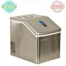 Portable Ice Maker Machine Hinging Top 2 2 Lbs Capacity Stainless Steel Finish