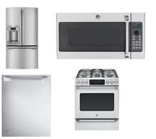 GE 4 Unit Kitchen Package Stainless Refrigerator Range Dishwasher Microwave  1