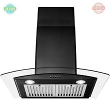 Convertible Wall Mount Range Hood Vent Stainless Steel LED Tempered Glass 30 in