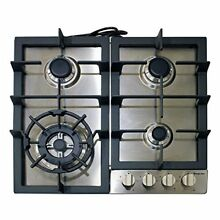 Magic Chef MCSCTG24S 24  Gas Cooktop with 4 Burners Stainless Steel