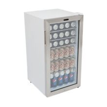 Beverage Fridge Can Cooler Locking Stainless Steel Trimmed Glass Door 120  12oz