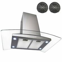 AKDY AIR6836 36  Island Mount Ductless Range Hood with 870 CFM Motor 3 Speed
