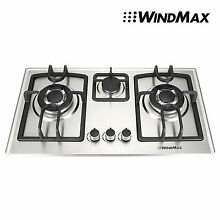 WINDMAX Home 70cm 3 Burner Stainless Steel Silver Gas Cooktop Gas LPG Hob A