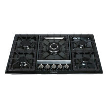 Windmax 34 inches 5 Burners Cooktops Black Stainless Steel Built In Gas Hob A