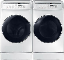 Samsung White Flex Washer   Electric Dryer   Risers WV55M9600AW and DVE55M9600W