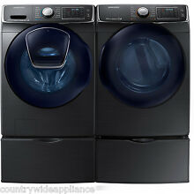 Samsung Black Stainless Washer Gas Dryer and Pedestals WF50K7500AV DV50K7500GV