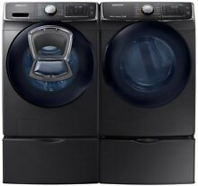 Samsung Black Stainless Washer Gas Dryer and Pedestals WF45K6500AV DV45K6500GV