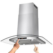 36  Island Mount Stainless Steel Dual Touch Panel Kitchen Range Hood Cooking Fan