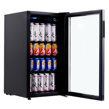 120 Can Beverage Mini Fridge Refrigerator Wine Beer Soda Cooler w  Glass Door US