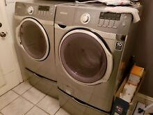 Samsung front load washer and dryer with pedestal  platinum  Excellent Condition