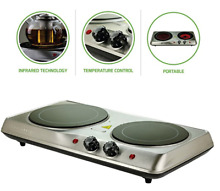 Double Portable Electric Stove Cooktop Ceramic Burner Hot Plate 1700watts