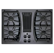 GE PGP9830DJBB 30  Black Gas On Glass Downdraft Cooktop NOB  25484 HL