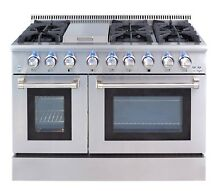 48 gas range HRD4803U 48  Professional Stainless Steel Dual fuel Thor Kitchen