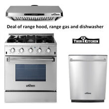 30  Gas Range with 4 Burners 30  range hood Stainless Steel Thor Kitchen
