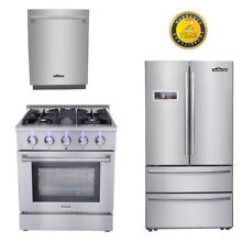 30  Gas range  24  dishwasher 36  THOR KITCHEN Depth Stainless Refrige Package