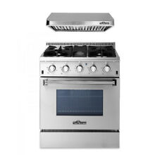 30  Gas Range  30inch range hood Stainless steel  2 Piece Package Thor Kitchen