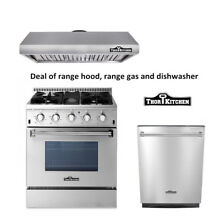 Thor Kitchen 3Pieces Package with 30 Gas Range range hood dishwasher wine cooler