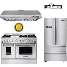 48  Gas Range range hood 36 Fridge Stainless steel 3 Piece Package Thor Kitchen