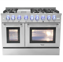 48 Range Gas Stainless Steel 2 Ovens 6 burners Cooker Stainless Steel HRG4808U