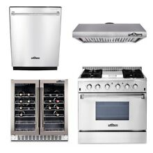 36 Gas Range range hood dishwasher wine cooler  Thor Kitchen 4 Units Package