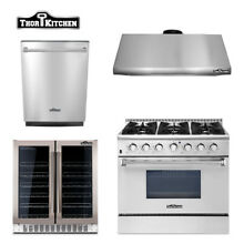 36 Gas Range range hood dishwasher wine cooler  Thor Kitchen 4 Unit Package