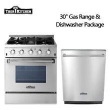 Thor Kitchen 30  Gas Range 24 inch dishwasher Stainless Steel 4 Burners
