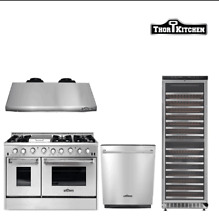 48 Gas Range range hood dishwasher wine cooler Thor Kitchen 4 Piece Package