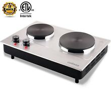 Electric Cooking Plate Two Burner Cooktop Small Countertop Double Kitchen Steel