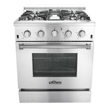 Thor Kitchen 30  Professional Stainless Steel Gas Range with 4 Burners Silver