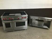 2 pc set  Wolf DF484CG 48  Pro Dual Fuel Range 4  Burners Griddle Grill   Hood