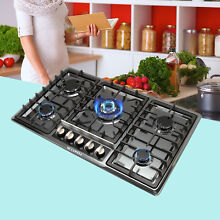 Kitchen 34  Black Titanium Steel Cooktops 5 Burners Gas Stoves Top Hob