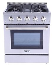 Gas Range 30  Thor Kitchen HRG3080U Professional Stainless Steel 4 Burner
