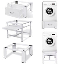 Washing Machine Stand Pedestal with Drawer  Pull Out Shelf White Utitlity Room