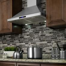 AKDY Range Hood 30 Wall Mount Built in LED Light Convertible Stainless Steel