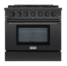 Thor Kitchen 36  Gas Range Black Stainless Steel HRG3618 BS Professional