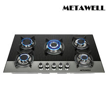 METAWELL 35 5  5 Burners Coated Glass Gas Cooktop Built in Gas Stove NG LPG